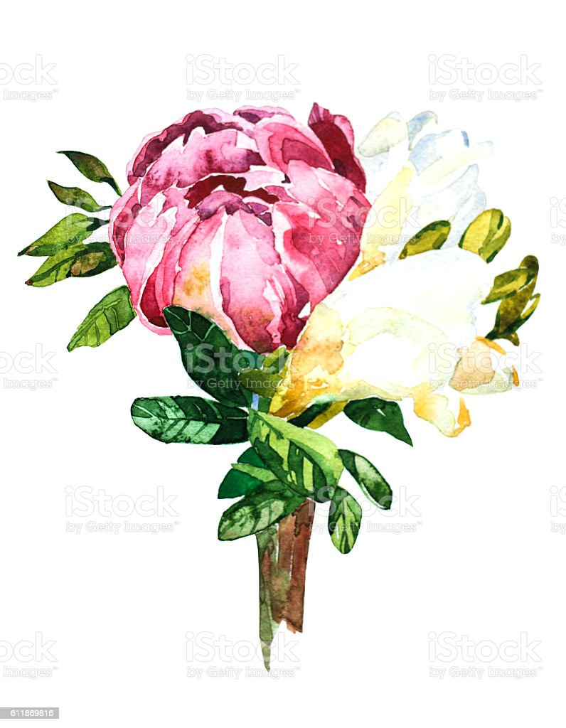 Flowers watercolor bouquet and boutonniere stock vector art flowers watercolor bouquet and boutonniere royalty free stock vector art dhlflorist Images