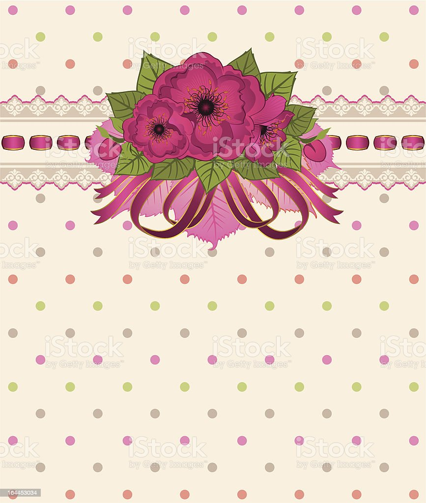 Flowers with vintage lace ornaments on background. Vector royalty-free stock vector art