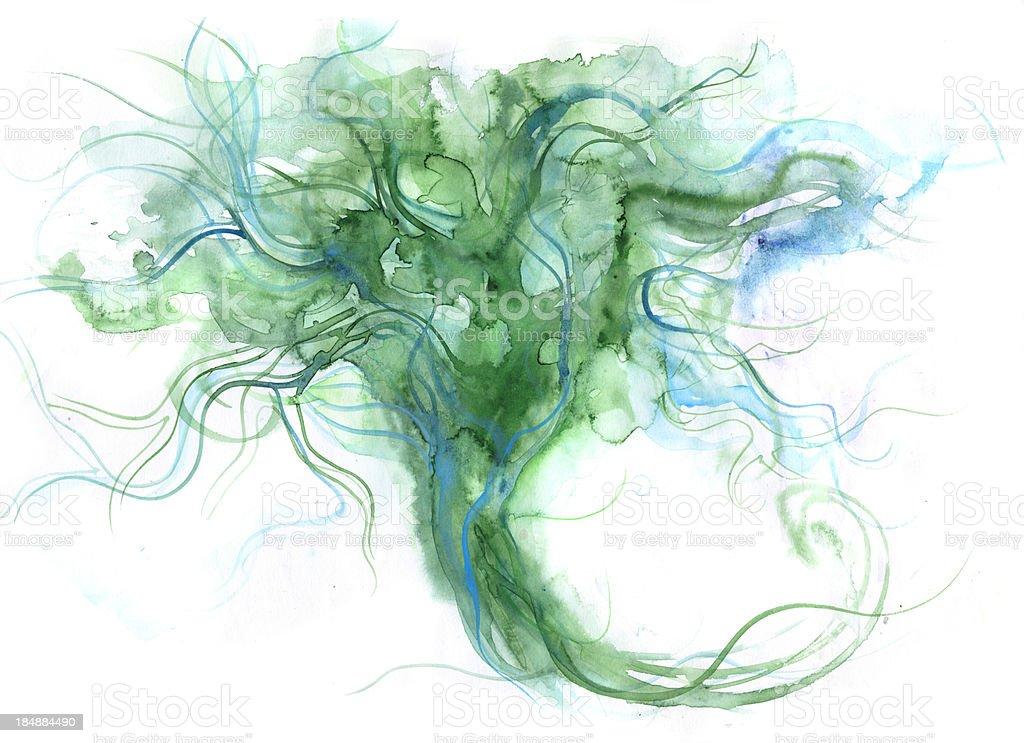 flowing tree vector art illustration