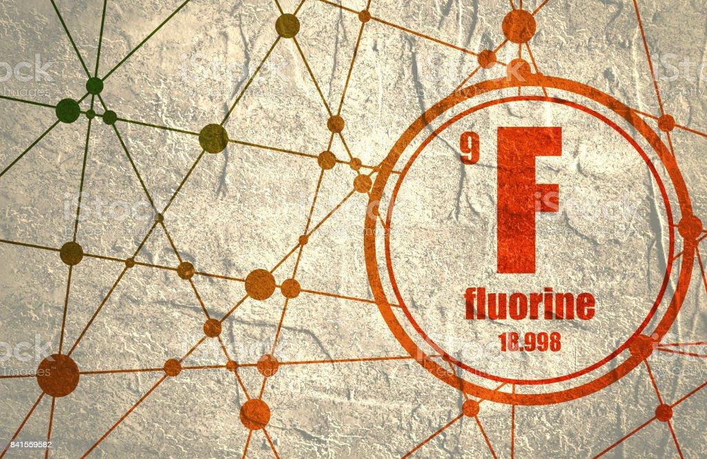 Fluorine chemical element. vector art illustration