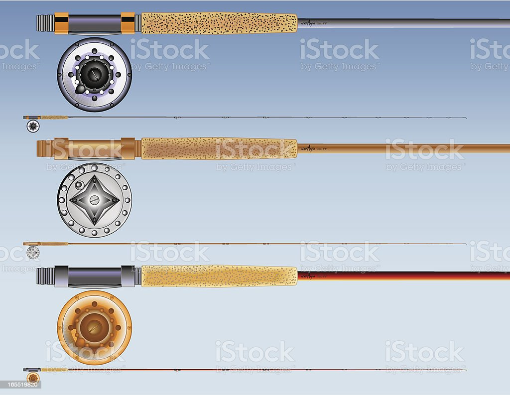 Fly Rods and Reels royalty-free stock vector art