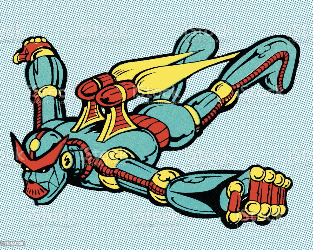 Flying Alien Robot vector art illustration