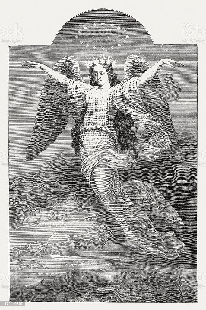 Flying angel, by Wilhelm Georgy (1819-1887, wood engraving, published 1871 royalty-free stock vector art