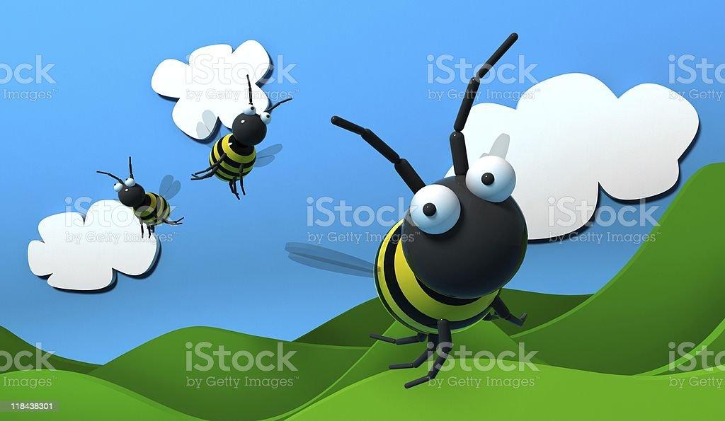 flying Bee royalty-free stock vector art
