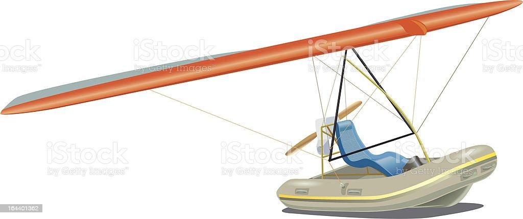 Flying boat vector art illustration