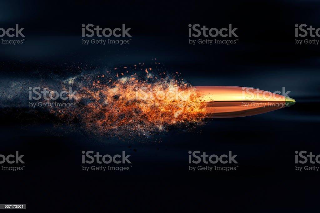 Flying bullet with dust trail vector art illustration