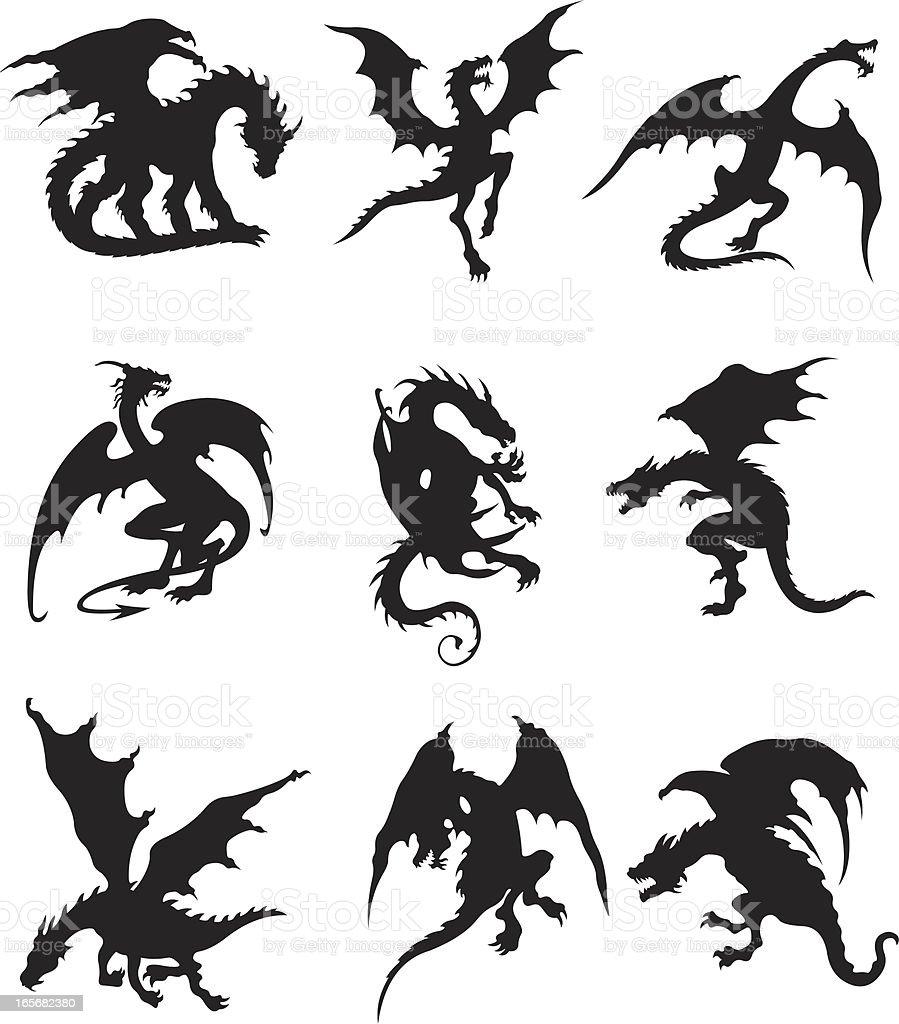 Flying dragons vector art illustration