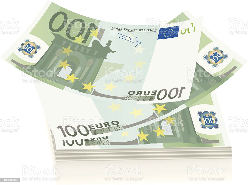 flying euro bills, the concept of success royalty-free stock vector art