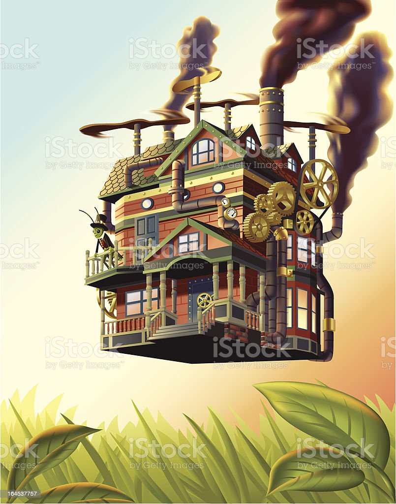 Flying House royalty-free stock vector art