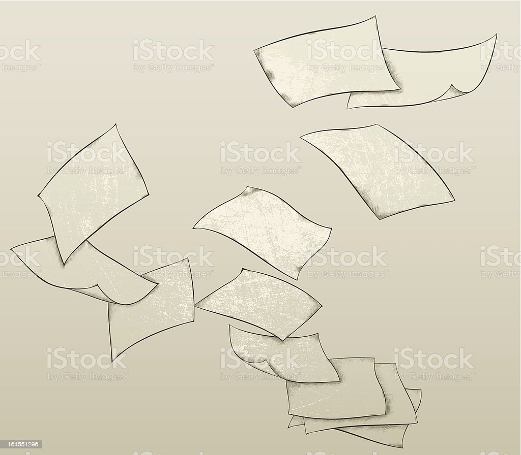 Flying paper sheets royalty-free stock vector art