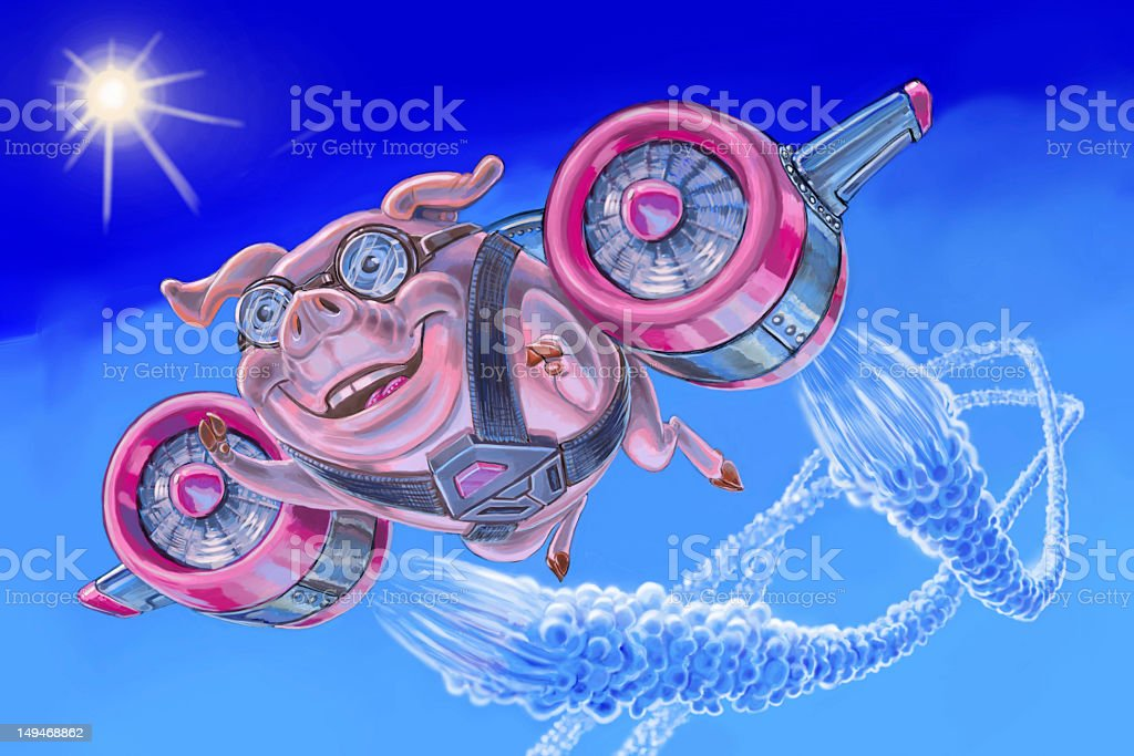 flying pig with a jet pack royalty-free stock vector art