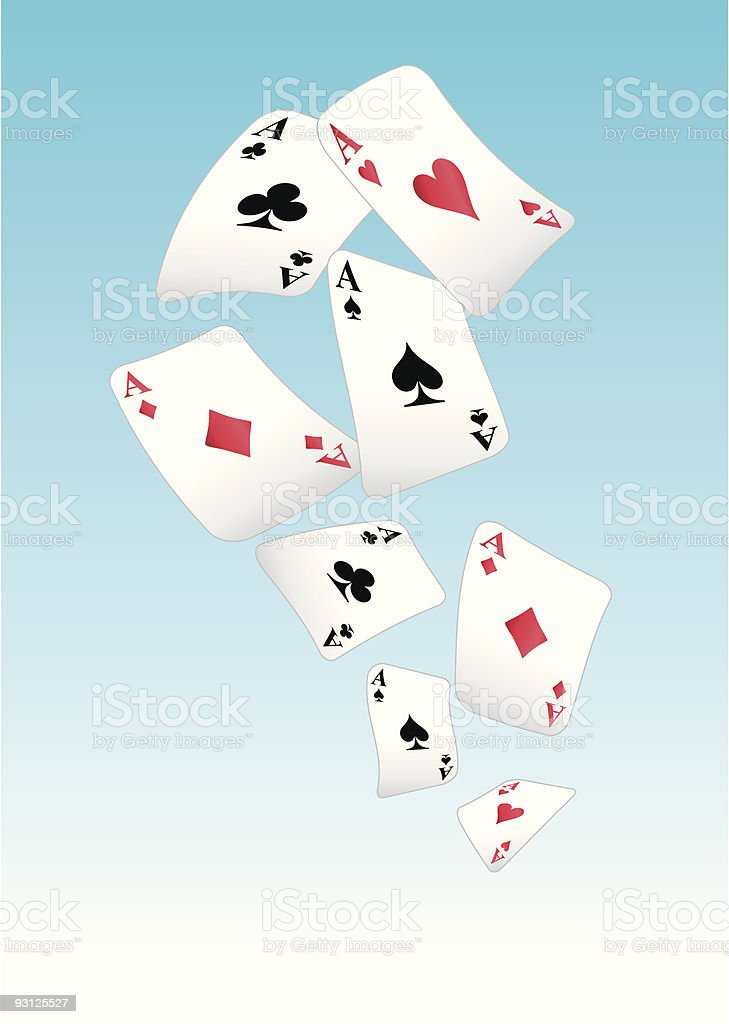 flying playing cards vector art illustration