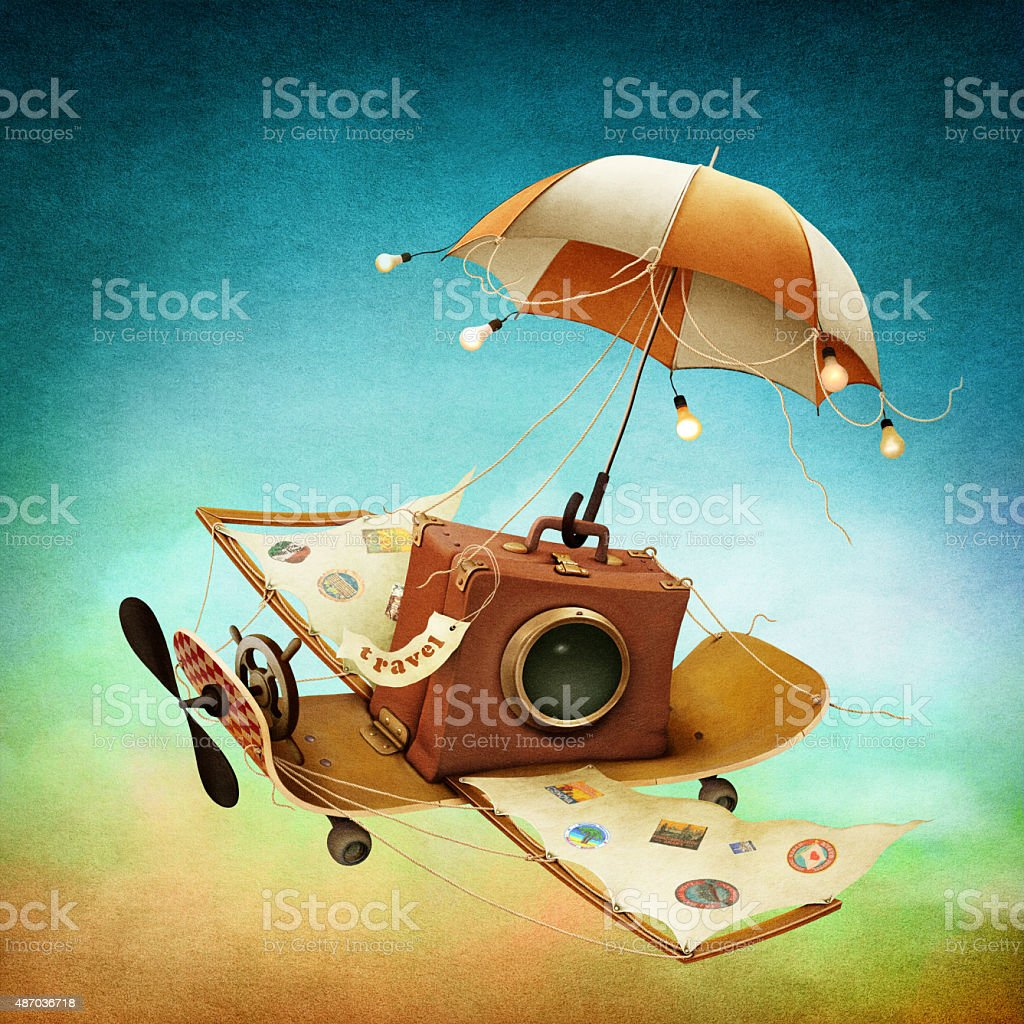 Flying suitcase vector art illustration