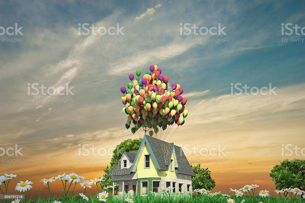 flying wooden house vector art illustration