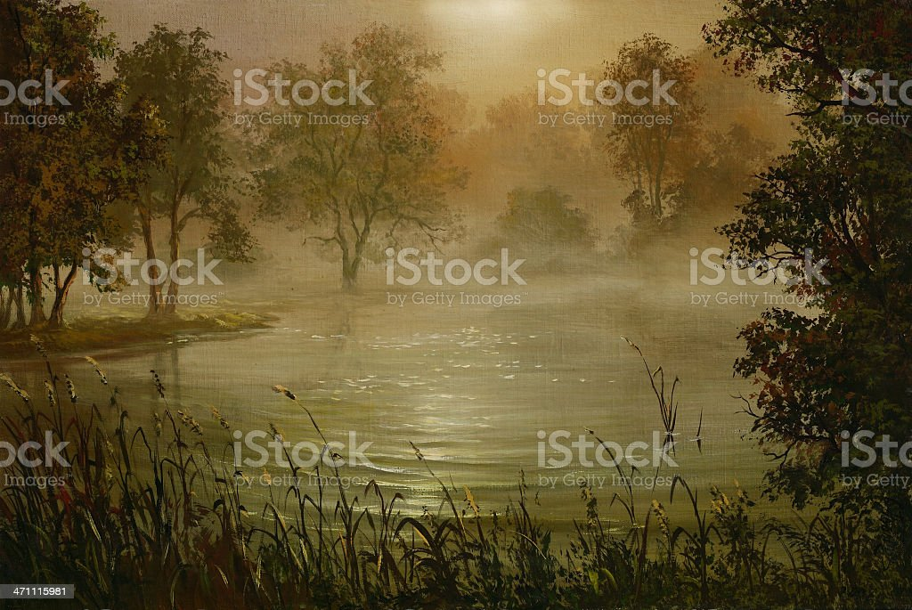 Fog above water royalty-free stock vector art