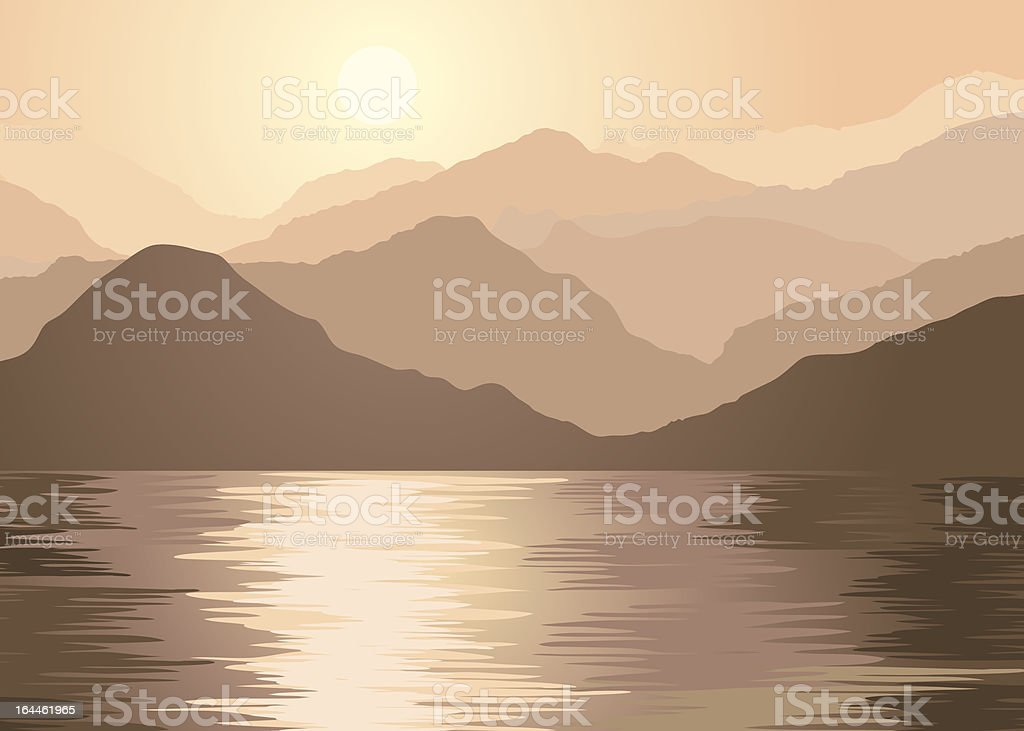 Foggy mountains and lake royalty-free stock vector art