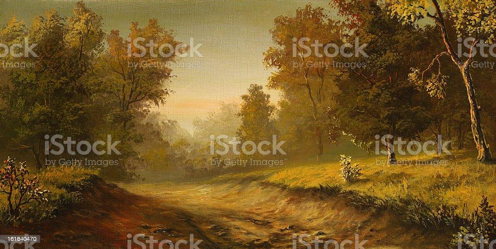 Foggy road vector art illustration