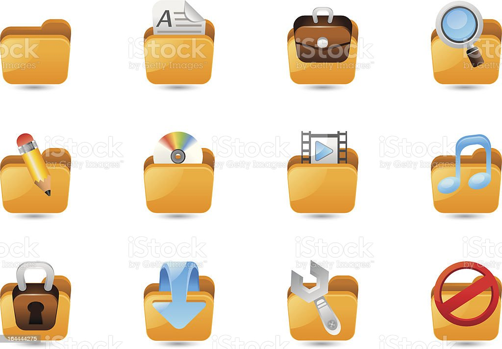 Folder icon set royalty-free stock vector art