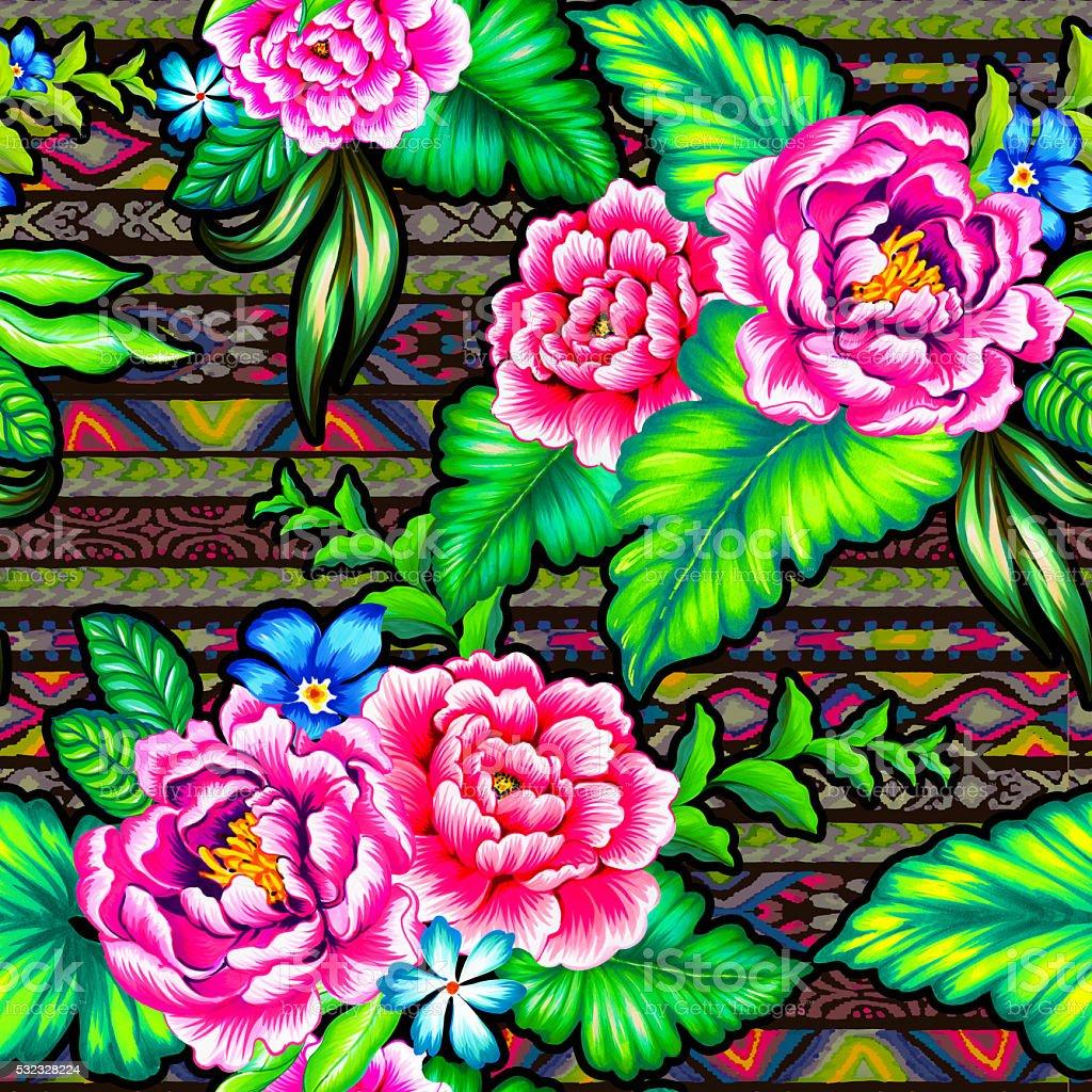 folk flowers with aztec background vector art illustration