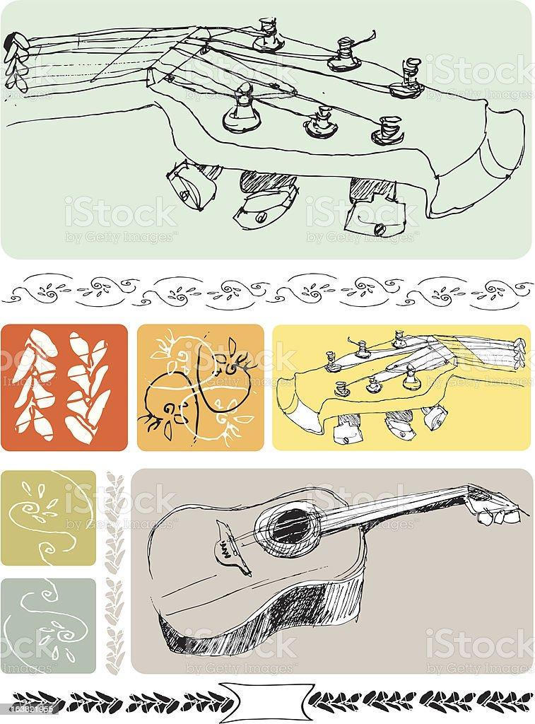 Folk Guitar Drawings and Pattern Set vector art illustration
