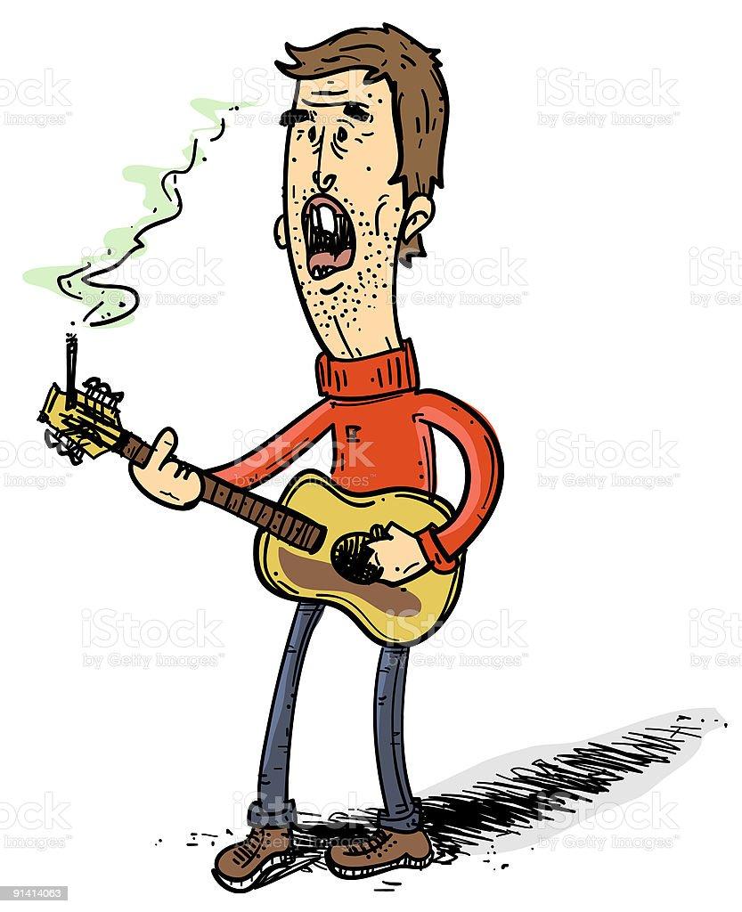 Folk Musician vector art illustration