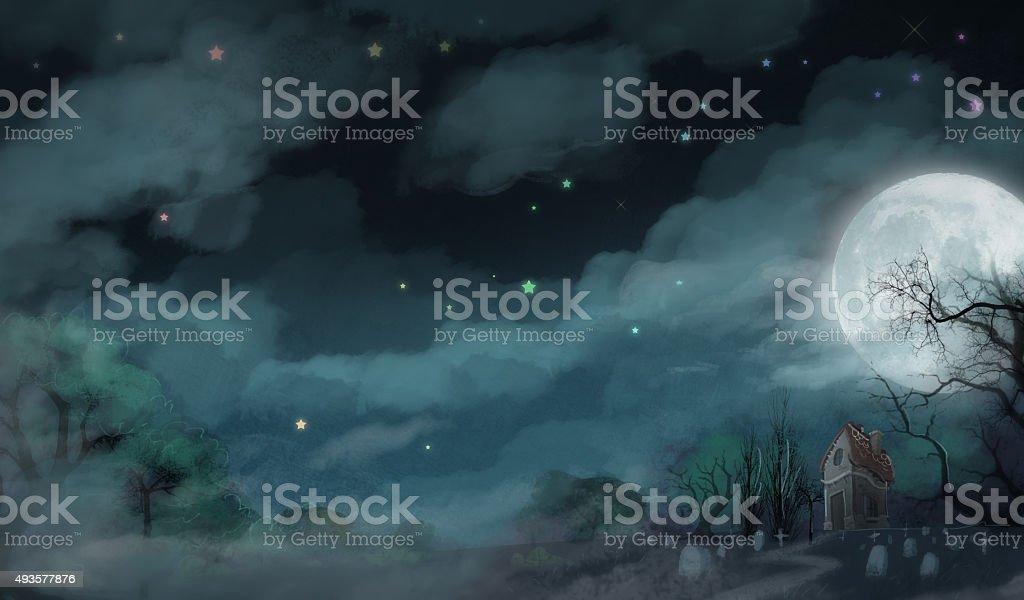 fondo de noche de terror vector art illustration