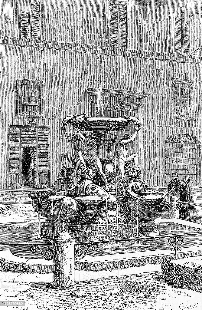 Fontane delle Tartarughe (The Turtle Fountain) in Rome vector art illustration
