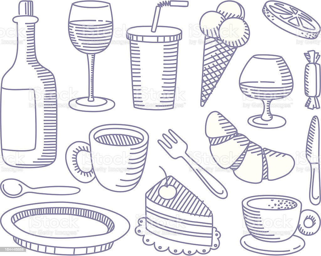 Food and Drinks doodles royalty-free stock vector art