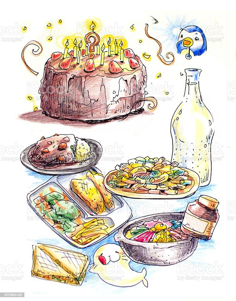 food colorful illustration vector art illustration
