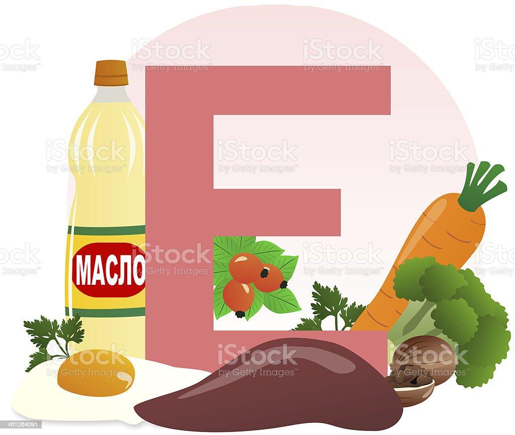food containing vitamin E vector art illustration