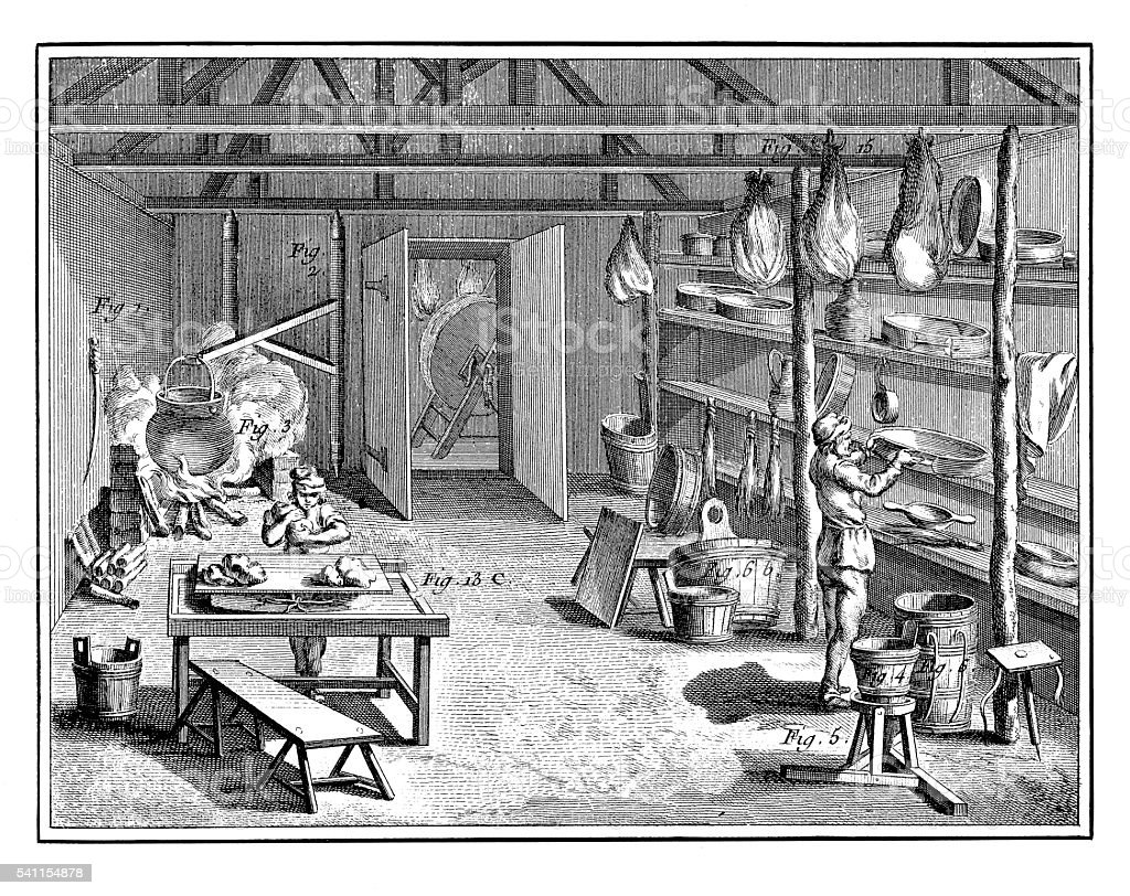 Food Industry: Swiss cheese making (antique engraving) vector art illustration