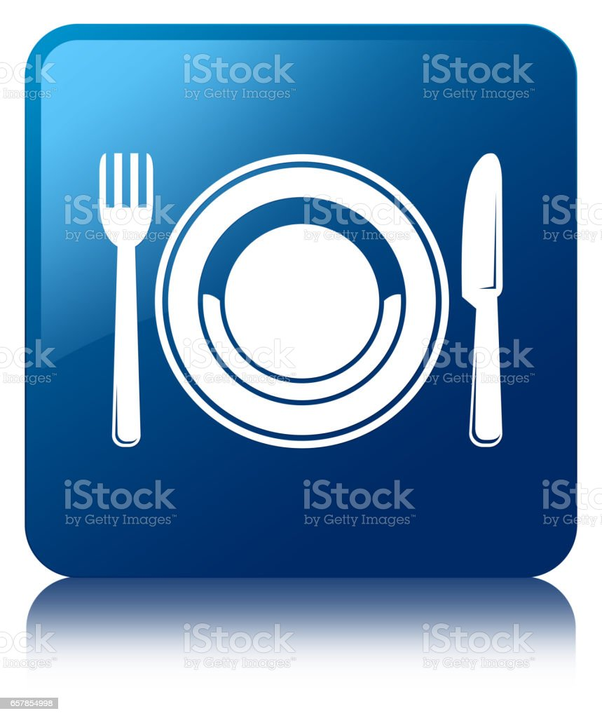 Food plate icon blue square button vector art illustration