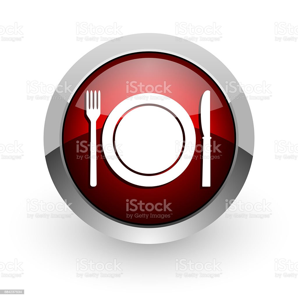 food red circle web glossy icon vector art illustration