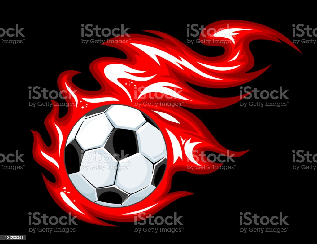 Football ball in fire flames royalty-free stock vector art