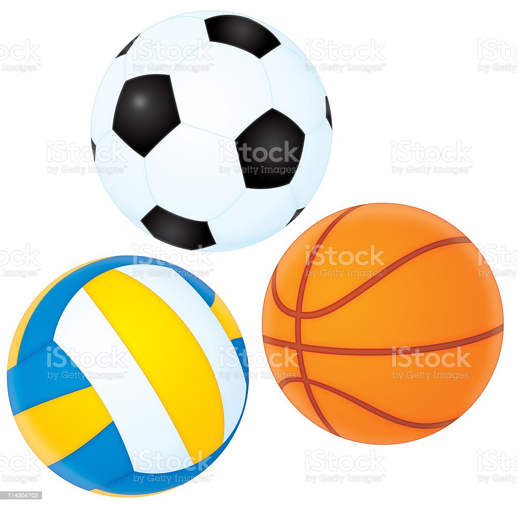 Football, basketball and volleyball royalty-free stock vector art