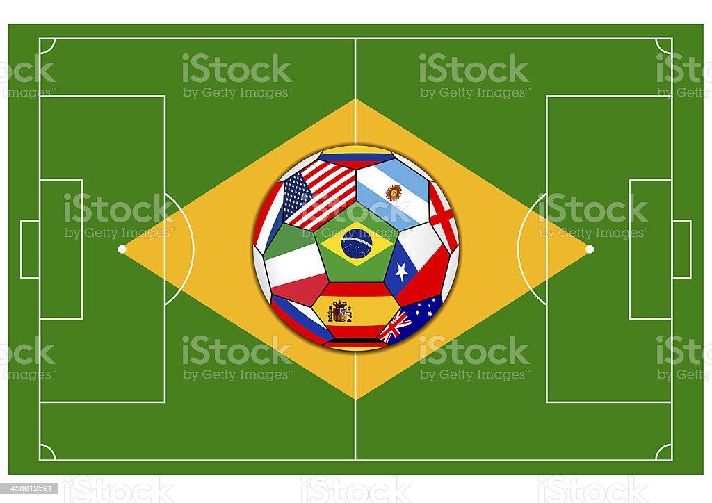 football field with ball - Brazil 2014 royalty-free stock vector art