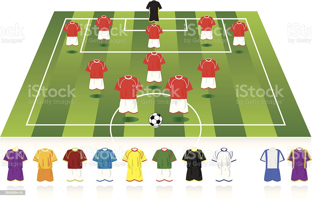 Football formation (5-3-2) royalty-free stock vector art