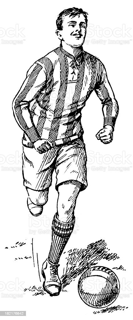 Football player | Antique Sport Illustrations royalty-free stock vector art