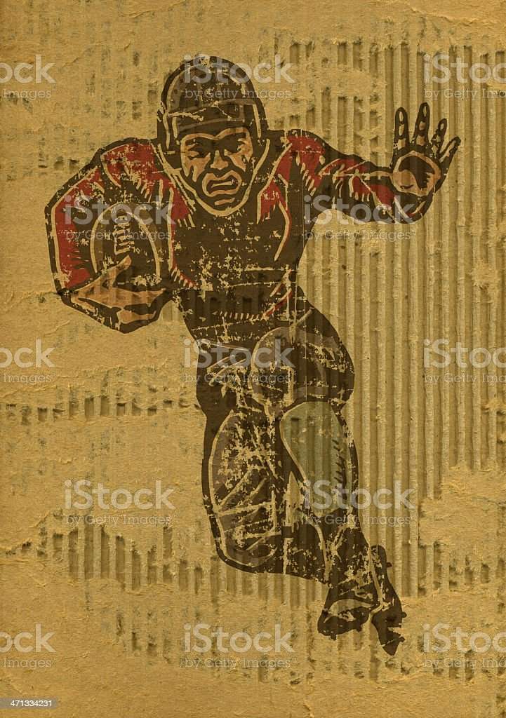 Football Player on Torn Cardboard Background - Retro royalty-free stock vector art