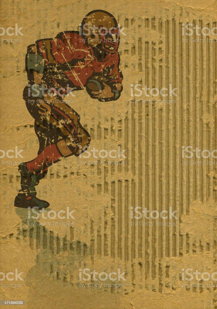 Football Player Running Back on Torn Cardboard vector art illustration