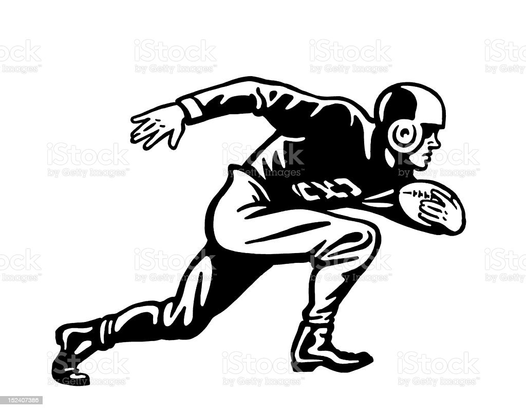 Football Player Running With Ball royalty-free stock vector art