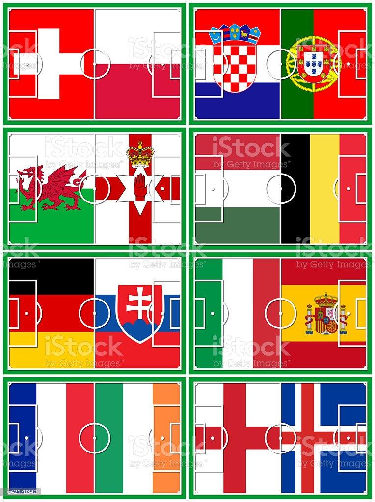 football round of 16 teams vector art illustration