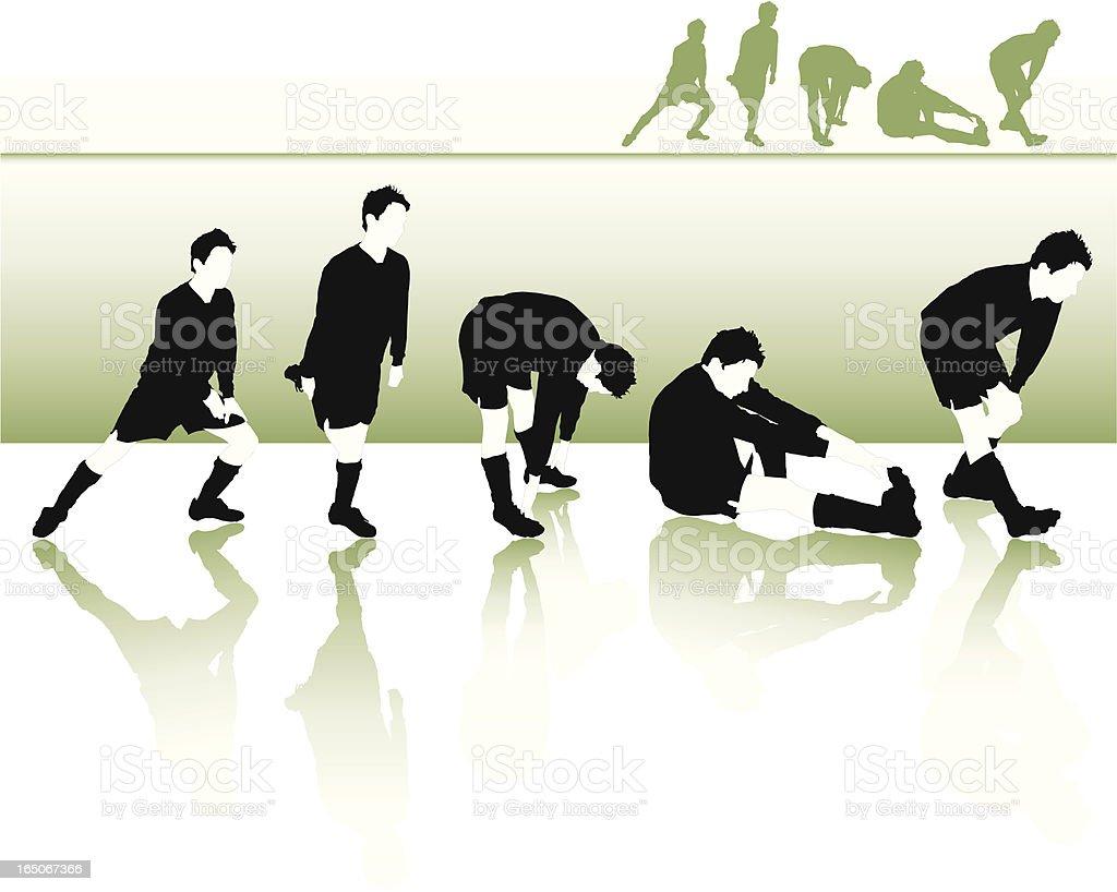 Football Stretches vector art illustration