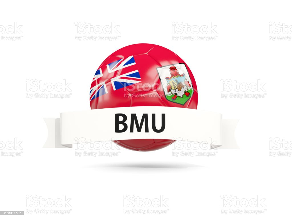 Football with flag of bermuda stock photo