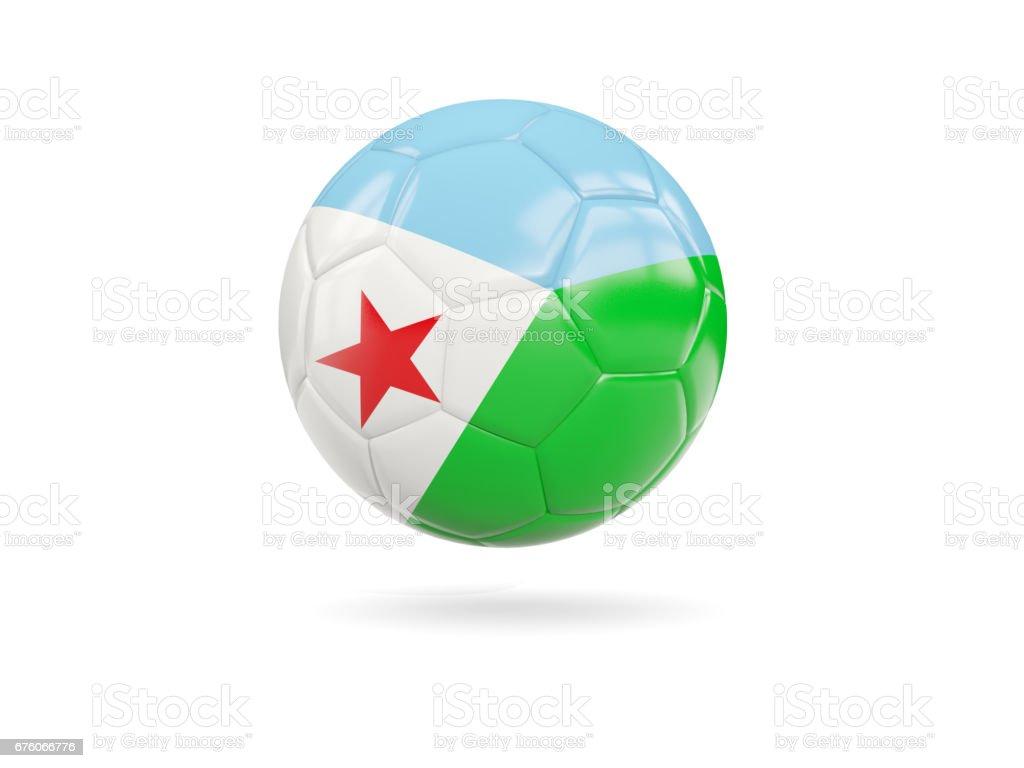 Football with flag of djibouti vector art illustration