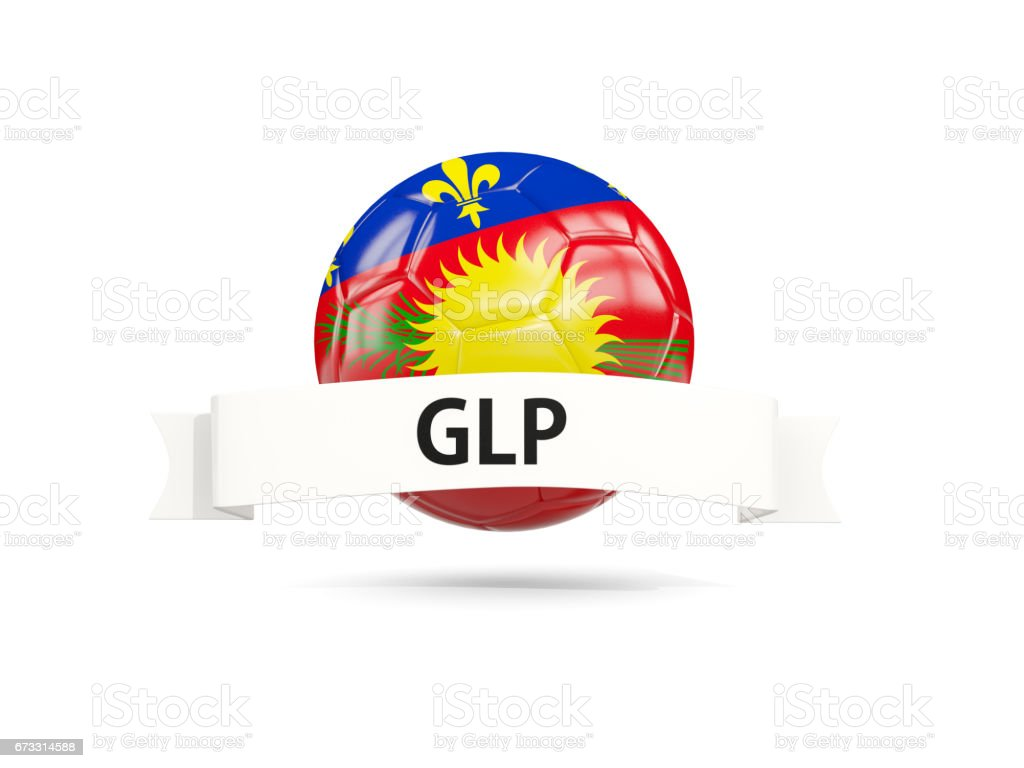 Football with flag of guadeloupe vector art illustration