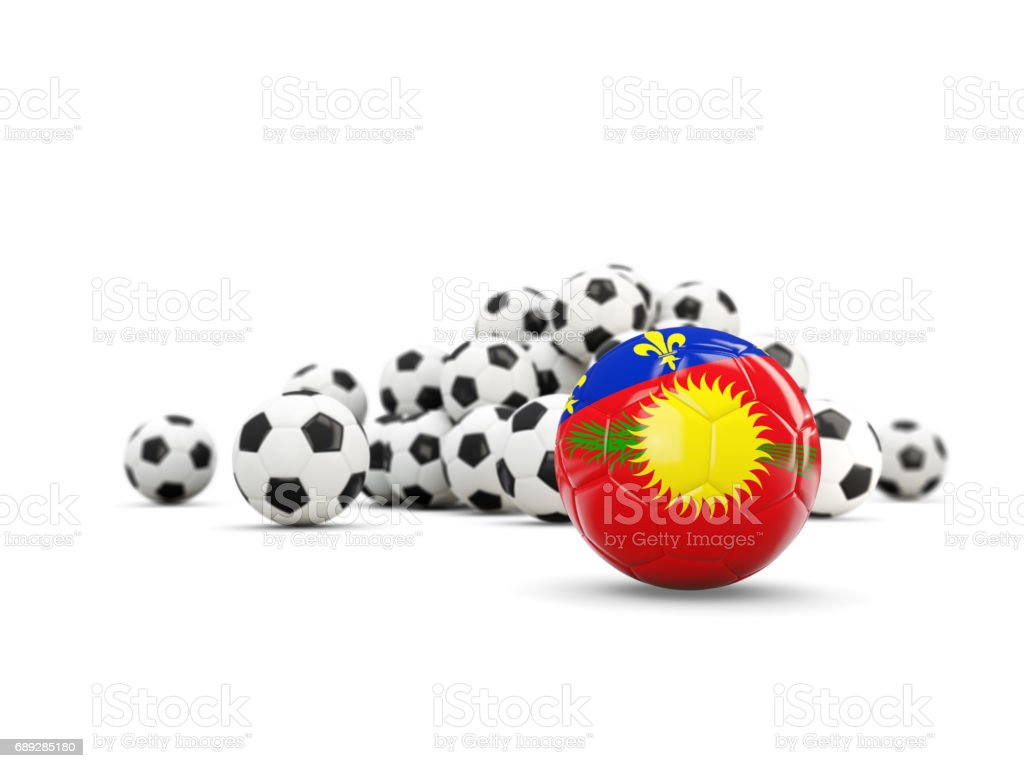 Football with flag of guadeloupe isolated on white vector art illustration