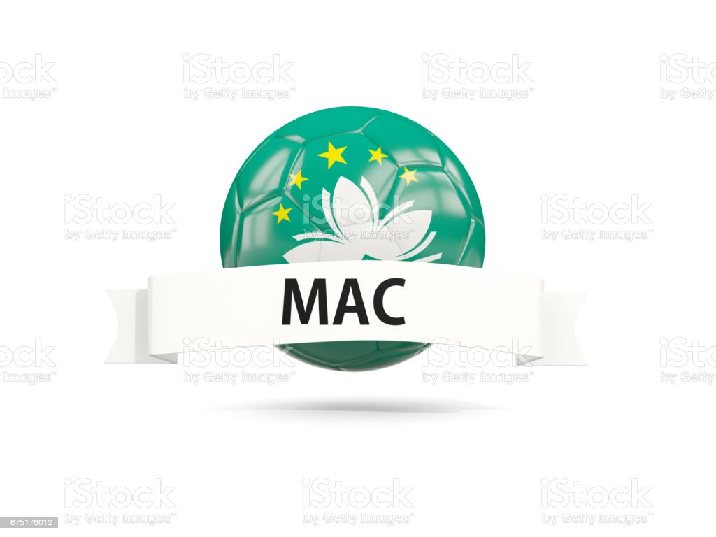 Football with flag of macao stock photo