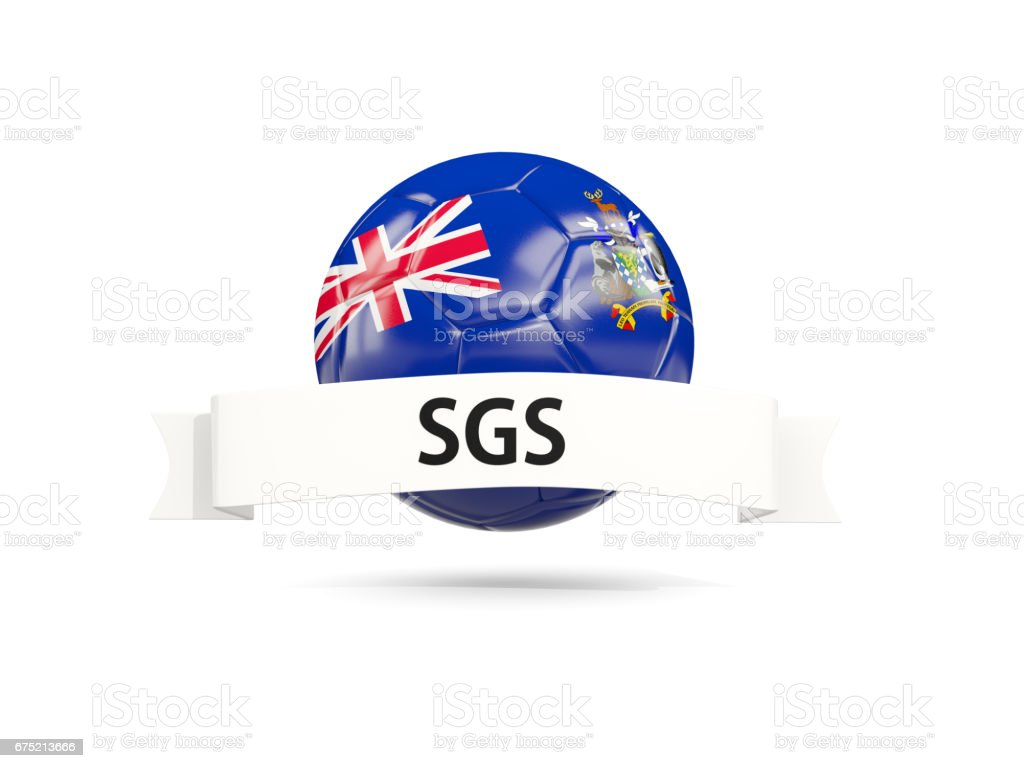 Football with flag of south georgia and the south sandwich islands stock photo