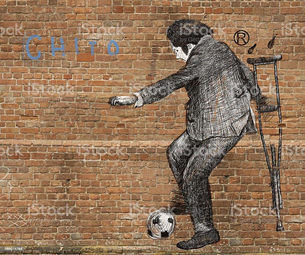Footballer vector art illustration
